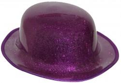 Шляпа Котелок пластик блестящая фиолетовая