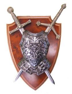 Панно мини-меч Эскалибур, мини-меч Тизона Д-Сида, кираса на щите