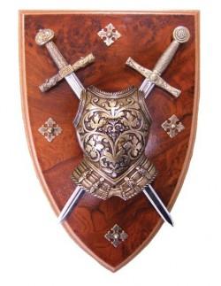 Панно мини-меч Эскалибур, мини-меч Карла Великого, кираса на щите