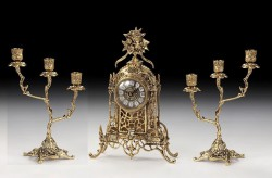 Набор Virtus. Часы настольные Cathedral Flowers + пара канделябров Z. Large на 3 свечи