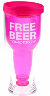 Стакан бутылка free beer розовый
