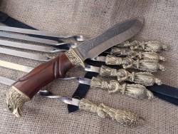 """Набор шампуров """"Птицы"""" с ножом"""