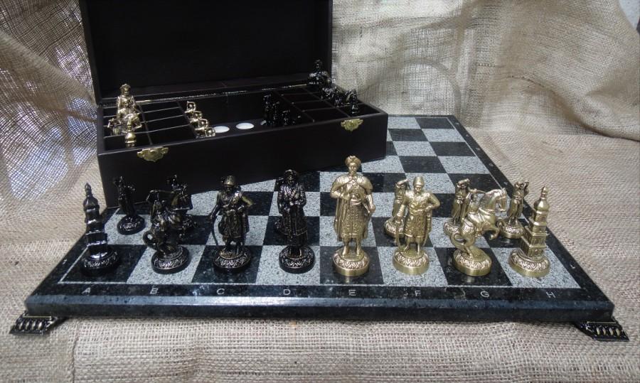 Набор Шахмат Запорожская Сечь с мраморной доской