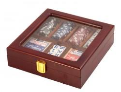 Набор для игры в покер на 100 фишек в деревянном кейсе