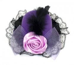 Шляпа гламур с розой и вуалью фиолетовая