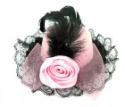 Шляпа гламур с розой и вуалью розовая
