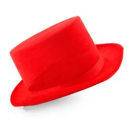 Шляпа Цилиндр велюровый красный