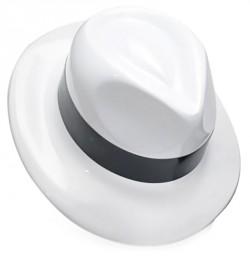 Шляпа Мужская пластик с лентой белая