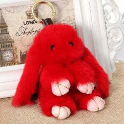 Пушистый кролик брелок rex fendi красный