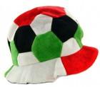 Шапка Футбольный мяч велюр красно-зеленая