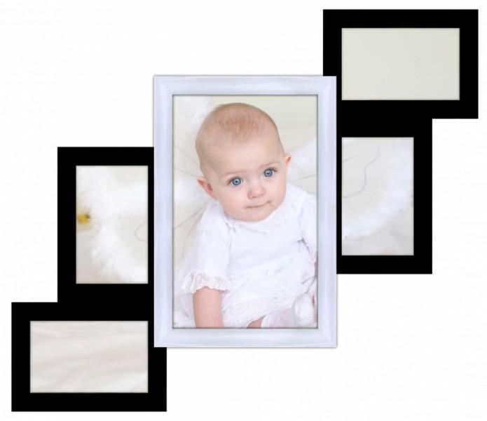 Деревянная мультирамка Лесеннка на 5 фото черно-белая