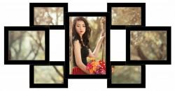 Деревянная мультирамка Семь желаний на 7 фото черная